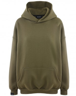 [CHIC154] MIKINA OVERSIZED S KAPUCÍ MILITARY  Moodie